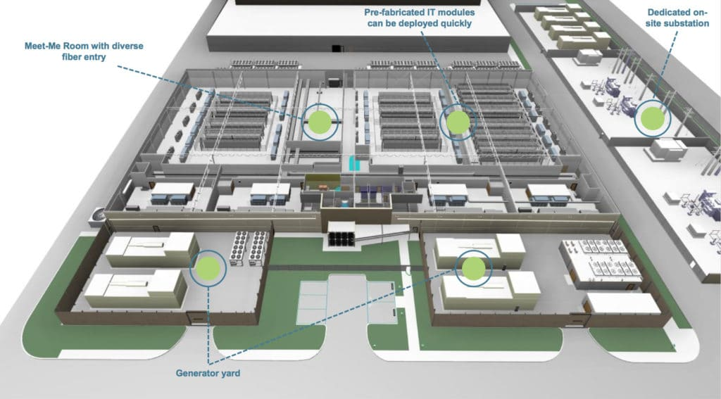 rendering of inside of Prime Data Centers' Sacramento Building One