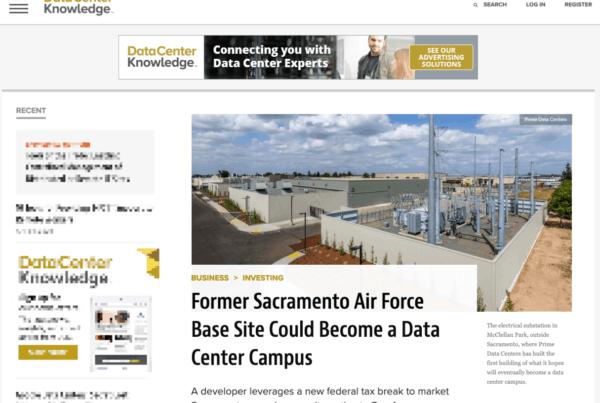 Data Center Knowledge covers Prime Data Centers Sacramento Campus