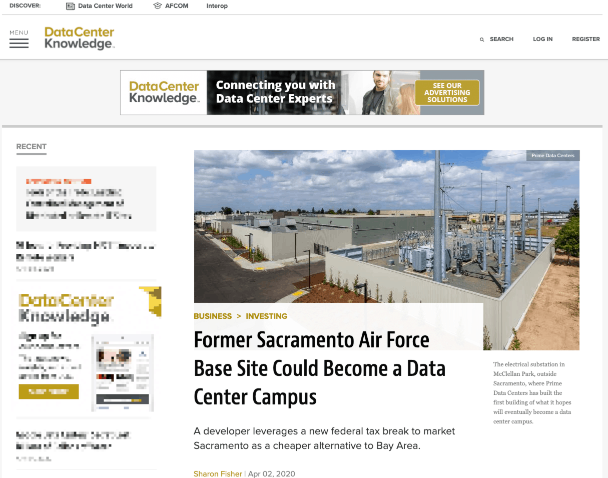 Data Center Knowledge covers our Sacramento Data Center Campus