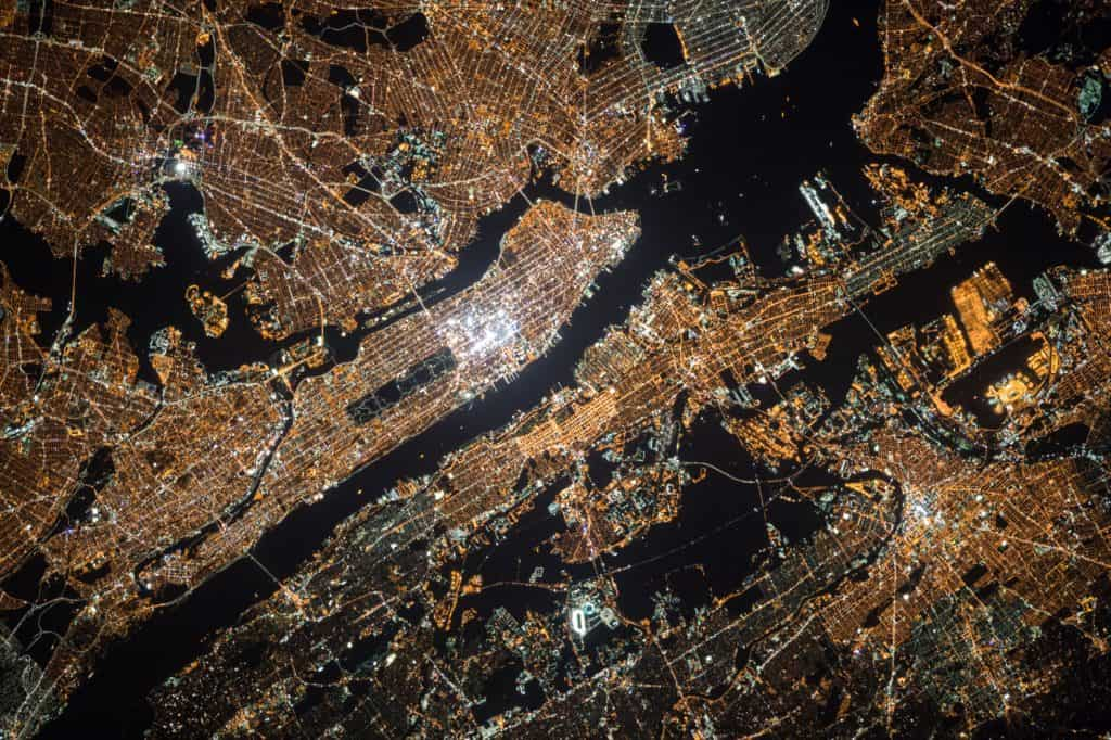 satellite image of New York City at night