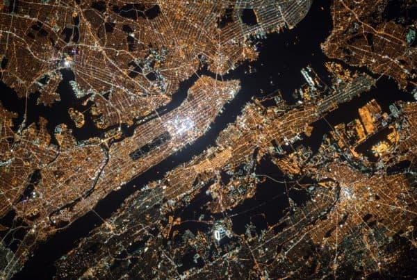 satellite image of New York City at night