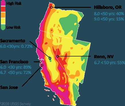 USGS earthquake risk map for California, Nevada, and Oregon