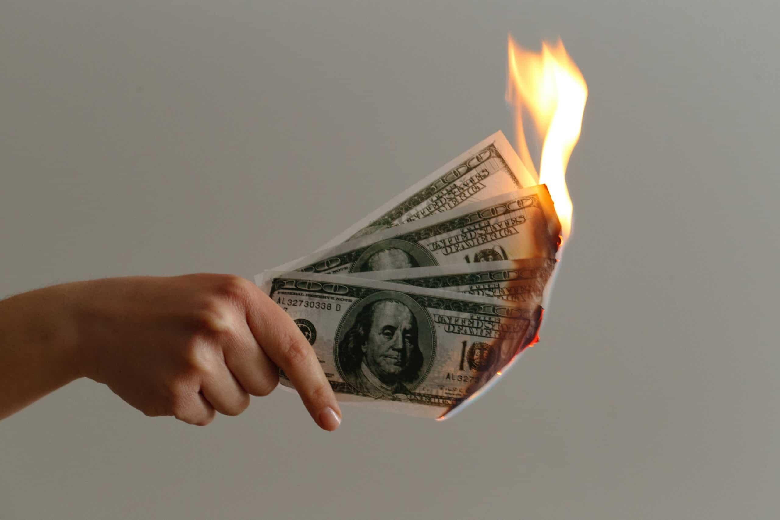 photo of burning money