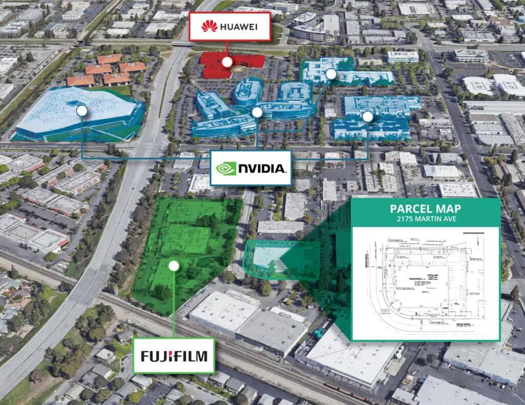 map of Prime Data Centers Martin Av. property site in Santa Clara