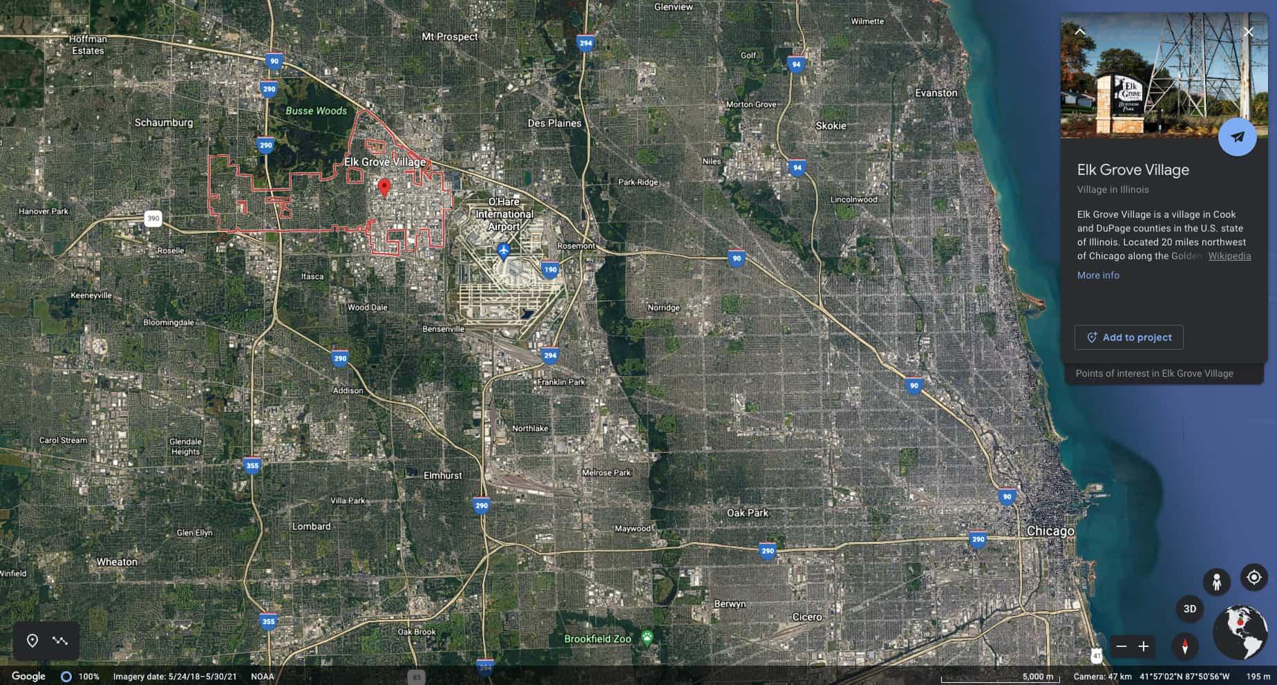 Google Earth image of Elk Grove Village, IL